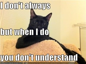 I don't always but when I do you don't understand