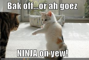 Bak off...or ah goez   NINJA on yew!