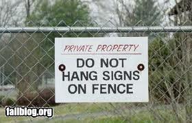 Sign hanging fail