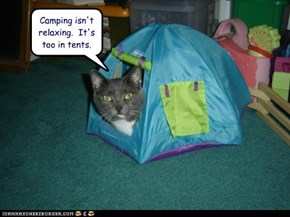 Camping isn't relaxing.  It's too in tents.