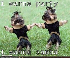 I wanna party  I wanna samba