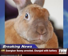 Breaking News - Energiser Bunny arrested. Charged with battery