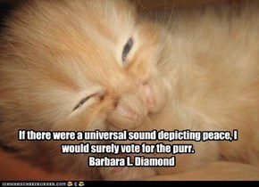 If there were a universal sound depicting peace, I would surely vote for the purr.     Barbara L. Diamond