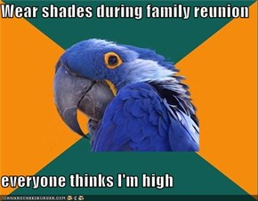 Wear shades during family reunion  everyone thinks I'm high