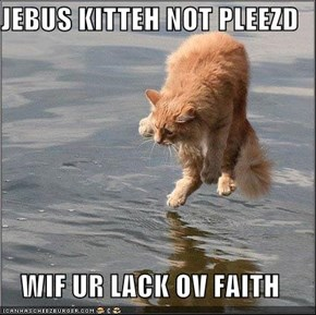 JEBUS KITTEH NOT PLEEZD  WIF UR LACK OV FAITH