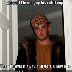 Shows 7 Eleven guy his refill cup  Then throws it away and gets a new one