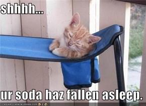 shhhh...  ur soda haz fallen asleep.