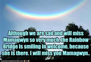 Although we are sad and will miss Mamagwyn so very much, the Rainbow Bridge is smiling in welcome, because she is there. I will miss you Mamagwyn..