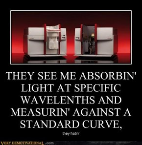 THEY SEE ME ABSORBIN' LIGHT AT SPECIFIC WAVELENTHS AND MEASURIN' AGAINST A STANDARD CURVE,