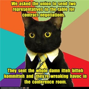We  asked  the  union  to  send  two representatives  to  the  table  for  contract  negotiations.