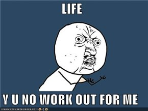 LIFE  Y U NO WORK OUT FOR ME