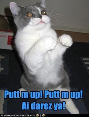 Putt m up! Putt m up! Ai darez ya!