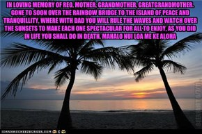 IN LOVING MEMORY OF REO, MOTHER, GRANDMOTHER, GREATGRANDMOTHER. GONE TO SOON OVER THE RAINBOW BRIDGE TO THE ISLAND OF PEACE AND TRANQUILLITY, WHERE WITH DAD YOU WILL RULE THE WAVES AND WATCH OVER THE SUNSETS TO MAKE EACH ONE SPECTACULAR FOR ALL TO ENJOY,