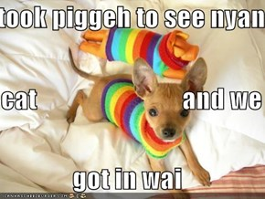 i took piggeh to see nyan  cat                            and we        got in wai
