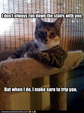 I don't always run down the stairs with you,