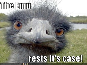 The Emu  rests it's case!