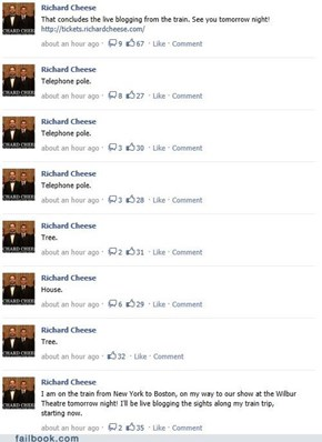 Richard Cheese: Live Blogging from the Train