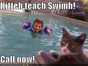 Kitteh teach Swimh!  Call now!