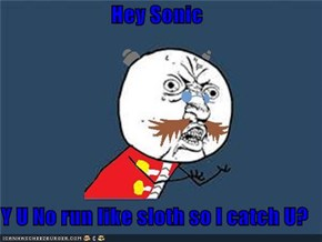 Hey Sonic  Y U No run like sloth so I catch U?