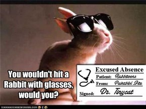 You wouldn't hit a Rabbit with glasses, would you?