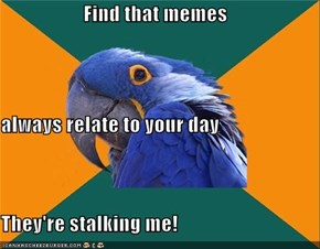 Find that memes  always relate to your day They're stalking me!