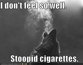 I don't feel so well.  Stoopid cigarettes.