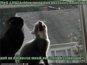 Well, I WAZ habbin a moomint ob clairity untill youz  putt on dat howse musik en startid fisst pumpin!!