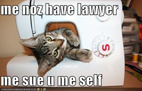 me noz have lawyer   me sue u me self