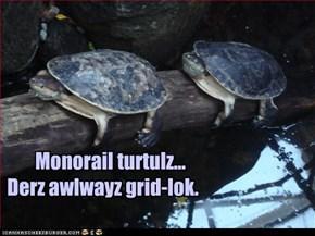 Monorail turtulz...Derz awlwayz grid-lok.
