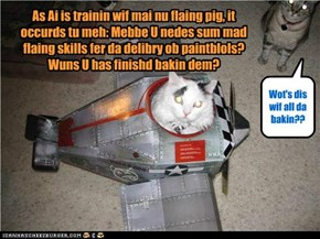 As Ai is trainin wif mai nu flaing pig, it occurds tu meh: Mebbe U nedes sum mad flaing skills fer da delibry ob paintblols? Wuns U has finishd bakin dem?