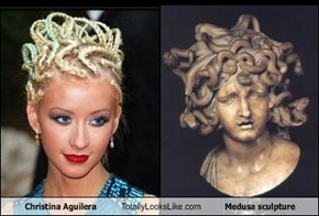 Christina Aguilera Totally Looks Like Medusa Sculpture