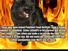 Those who have joined Paintblol Team HellCatz, send a friend request to:  paintblol.  Either LittleAPC or NCcharmer will accept your request. Then, when you make a lol during the fight, copy and paste it to that site. We will build the collection from tha