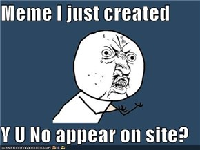 Meme I just created  Y U No appear on site?
