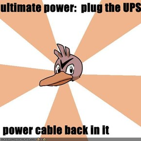 ultimate power:  plug the UPS    power cable back in it