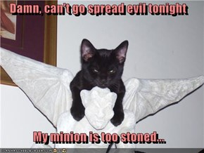 Damn, can't go spread evil tonight  My minion is too stoned...
