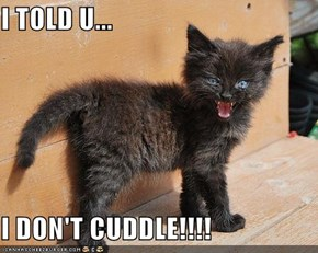 I TOLD U...  I DON'T CUDDLE!!!!