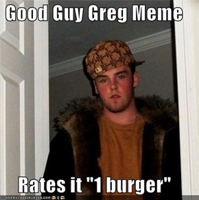 "Good Guy Greg Meme  Rates it ""1 burger"""