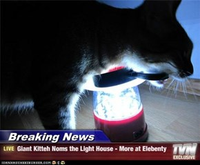 Breaking News - Giant Kitteh Noms the Light House - More at Elebenty