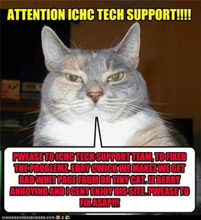 PWEASE TO ICHC TECH SUPPORT TEAM, TO FIXED THE PROBLEMZ. EBRY CWICK WE MAKEZ WE GET BAD WHIT PAGE FRUM DR TINY CAT. IZ BERRY ANNOYING AND I CENT ENJOY DIS SITE. PWEASE TO FIX ASAP!!!