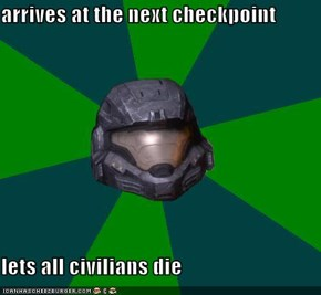 arrives at the next checkpoint  lets all civilians die