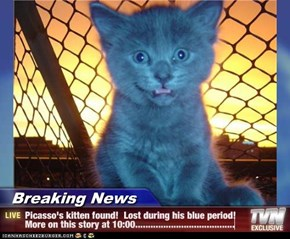Breaking News - Picasso's kitten found!  Lost during his blue period!  More on this story at 10:00.......................................