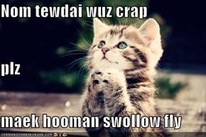 Nom tewdai wuz crap plz maek hooman swollow fly
