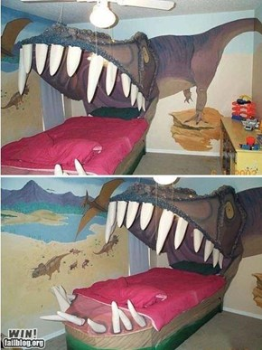 Dinosaur bed WIN!