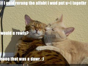 if i culd rerang the alfabt i wud put u+i togethr would u rewly? nooo that was a dawr. ;)