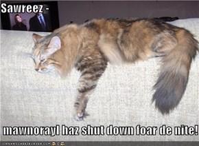 Sawreez -   mawnorayl haz shut down foar de nite!