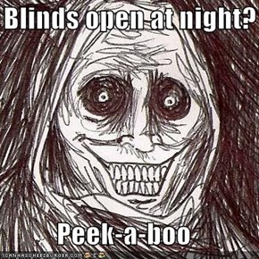 Blinds open at night?  Peek-a-boo