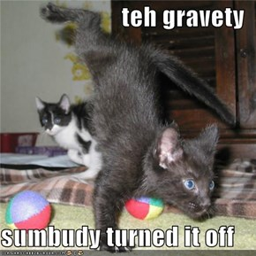 teh gravety  sumbudy turned it off
