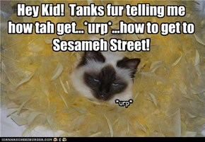 Hey Kid!  Tanks fur telling me how tah get...*urp*...how to get to Sesameh Street!