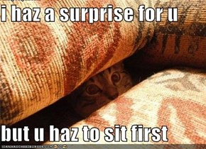 i haz a surprise for u  but u haz to sit first