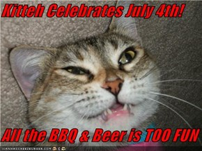 Kitteh Celebrates July 4th!  All the BBQ & Beer is TOO FUN